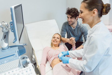 Couple in reproduction clinic being happy as the wife is pregnant as revealed by ultrasonic examination