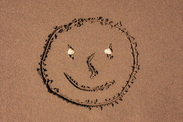 Funny face on the sand