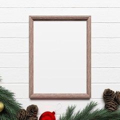 Empty Blank Frame Mockup with Christmas Decoration