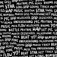 Seamless pattern with words on the rapper theme. Words rap, music, beat, battle, hit, underground, mix and others. Hand drawn ink brush illustration on black