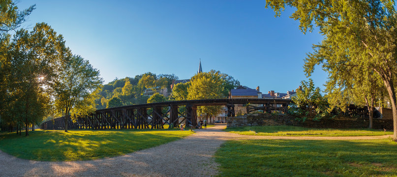 Old railroad in Harpers Ferry, West Virginia, USA