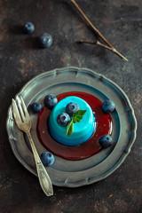 Blue panna cotta vintage