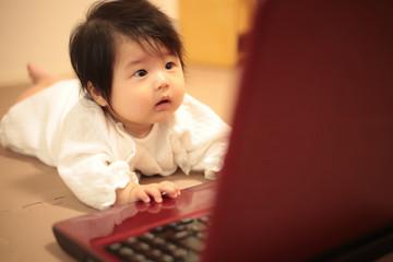 パソコンに触れる赤ちゃん
