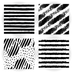 Set seamless pattern with black and white striped. Hand drawn black and yellow paint strokes. Grunge style. Hand-drawn stripes, brush strokes, stars. Beautiful vector fashionable background.