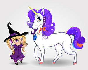 Cute vector baby witch girl together with beautiful magical unicorn on white background