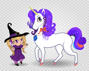 Kawaii vector baby witch girl together with beautiful magical unicorn on transparent background