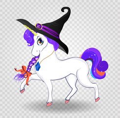 Kawaii cartoon unicorn with purple hair in witch hat on transparent background.