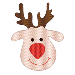 Knitted Christmas deer head on a white background