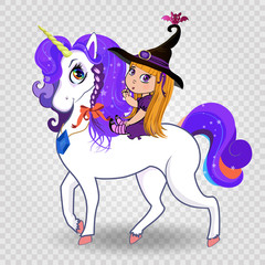 Kawaii baby witch girl riding beautiful magical unicorn on white background