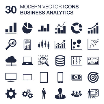 Business Analytics icons set (key performance indicators, metrics, KPI, dashboard, charts, graphs, data) quality vector scalable with flat design for web or print