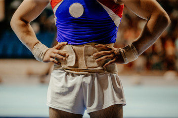 male gymnast before exercise gymnastics championship