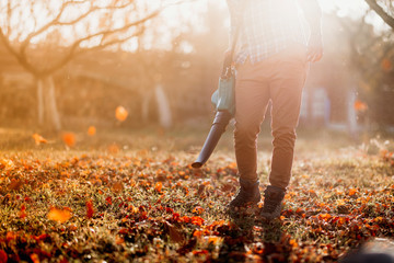 close up details, portrait of gardener using leaf blower and vacuum. Autumn clean up Wall mural