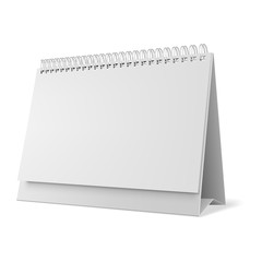Blank desk calendar 3d mockup vector illustration. Horizontal realistic paper calendar blank