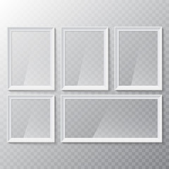 Realistic blank picture or photograph frame. Vector glass white photoframe for interior artwork design.