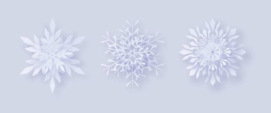 Origami snowflakes. Merry Christmas Greetings card. 3D snowflakes with a shadow for your design of greeting cards for New Year and Christmas
