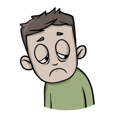 Cartoon guy in depression. The patients condition. Cartoon design icon. Colorfull flat vector illustration. Isolated on white background.
