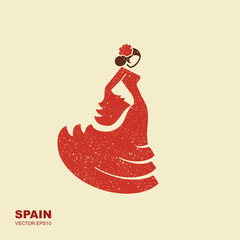 Spanish flamenco dancer. Vector Illustration in flat style with scuffed effect
