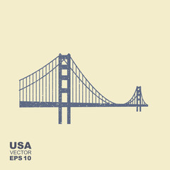 Golden Gate Bridge icon in flat style with scuffed effect