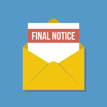 final notice letter in yellow envelope, flat vector illustration