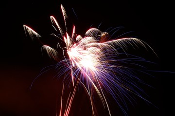 Long exposure of fireworks in the night sky