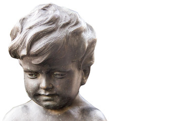 bronze angel face on a white background. space for text