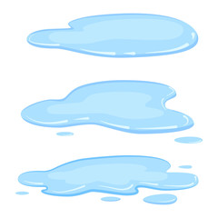 Set puddle, liquid, vector, cartoon style, isolated, illustration, on a white background