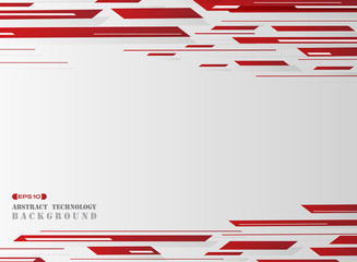Gradient red grid line pattern technology background.