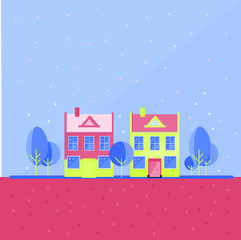 Colorful houses. Magical small town vector illustration
