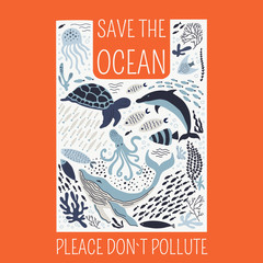 Save the ocean please do not pollute poster.