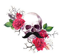 Human skull with mustaches in red rose flowers, branches. Watercolor