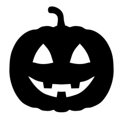 Minimalist, black, silhouette carved pumpkin icon. Scary Halloween pumpkin. Isolated on white