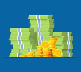 Stack of money dollars. Gold coins. Big pile of cash. Vector illustration.