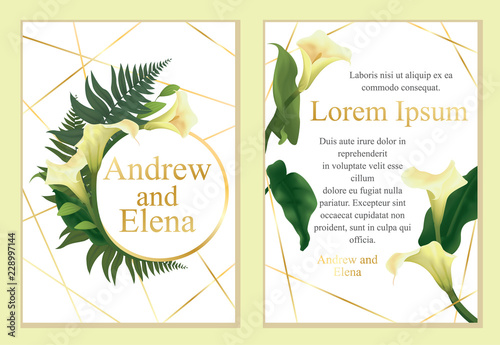 Template For Wedding Invitation Greeting Card Arrangement Of Calla Lily Flowers Various Leaves