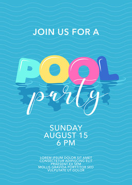 Pool party poster with inflatable rings in swimming pool vector illustration