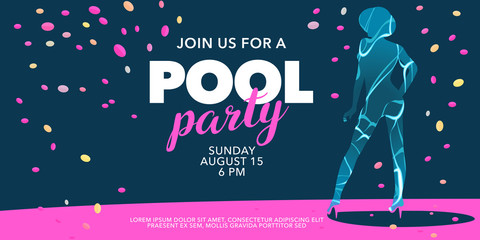 Pool party invite, banner with girl vector illustration