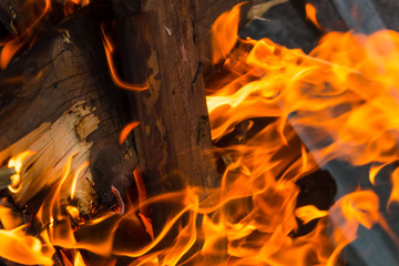 fire texture close-up background burning log vertical design bright with long tongues sparks