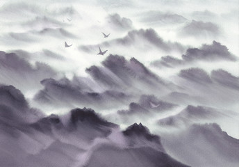 Mountain panoramic landscape watercolor background. Hand painted grey sketch