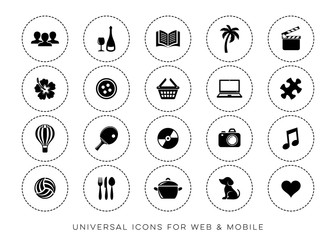 Black vector leisure web and mobile icons