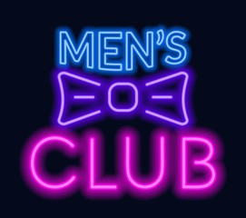Neon lettering Men's club on dark background.