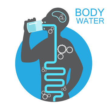 body health infographic illustration drink water icon dehydration symptoms