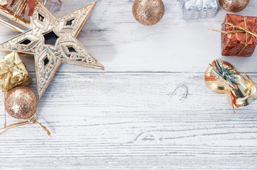 Beautiful Christmas composition and decoration on light wooden background, flat lay, top view, copy space (text space)