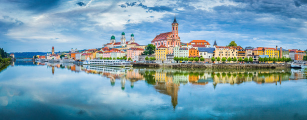 Passau city panorama with Danube river at sunset, Bavaria, Germany