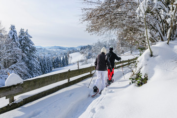Wandern in der frisch verschneiten Landschaft im Westallgäu