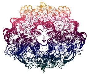 Girl with crown of flowers, pomegranate hair.