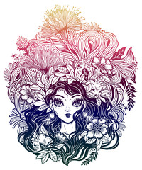 Girl with flowers, leaves and pomegranate hair.