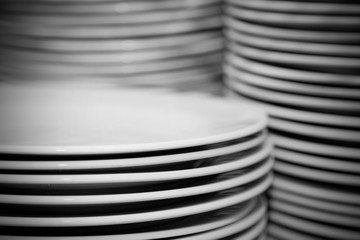 Plates Stacked In A Commercial Kitchen
