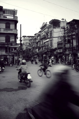 Chaotic bike road space in vietnamese city street.