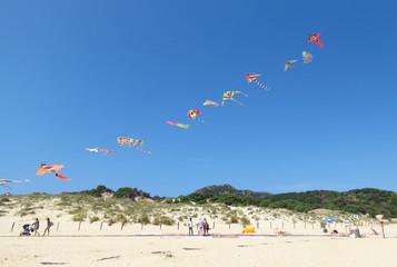 A long line of colourful kites flying under a deep blue sky at the beach of Spiaggia Su Giudeu, Sardinia, Italy