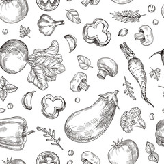 Vegetable hand drawn seamless pattern. Fresh vegetarian food, garden vegetables. Etching drawing vector vintage wallpaper. Illustration of healthy fresh background drawing beet and eggplant