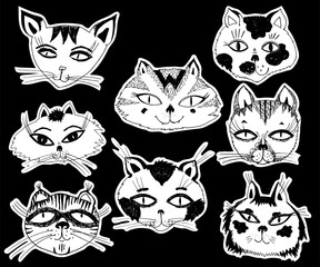 Cats heads emoticons. kitten set vector isolated.